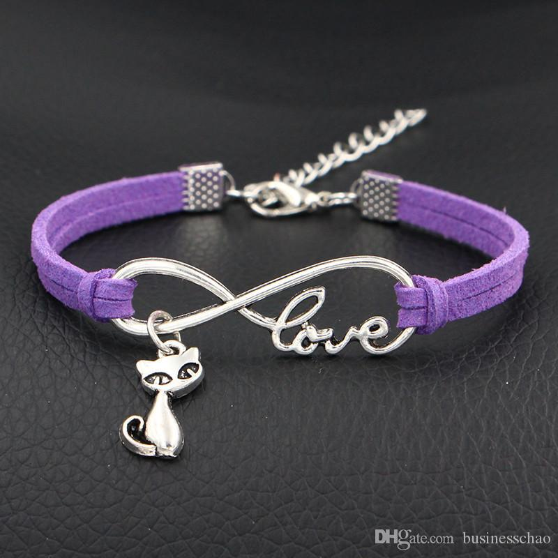 AFSHOR Vintage Purple Leather Rope Wrap Bracelets For Women Men New Infinity Love Cute Cat Fashion Charms Bangles Femme Statement Jewelry