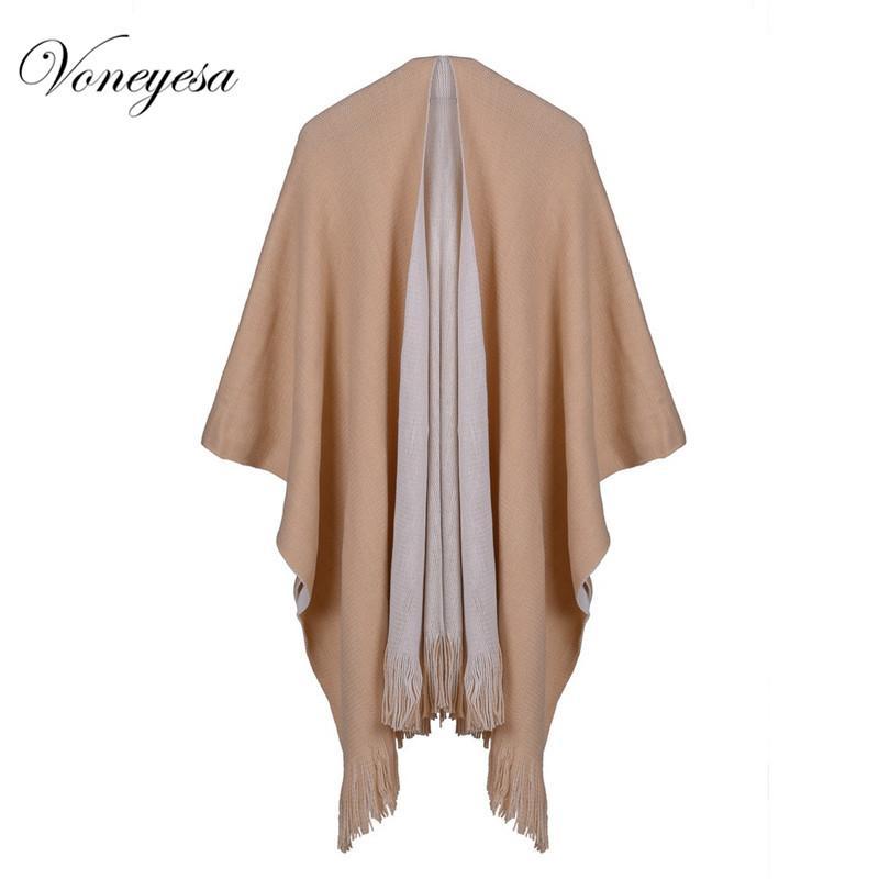 Voneyesa Kış Örme Şal Eşarp Moda Kadınlar Sıcak Örme Panço Atkılar Katı Renk Kış Burunları Cahmere Pashmina RO17062