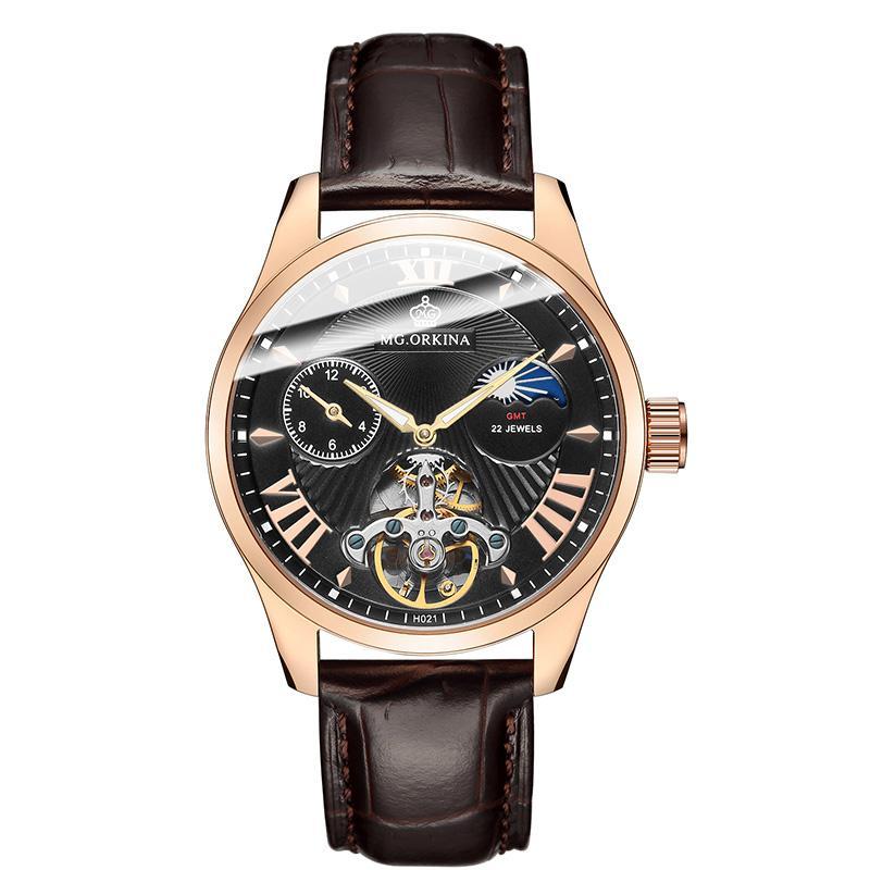 4ed9f6eb505 Compre ORKINA Luxo Famosa Marca De Aço Dos Homens Mecânicos Relógios De  Couro Genuíno Clássico Volante Design Automático Esqueleto Relógio De Pulso  De ...