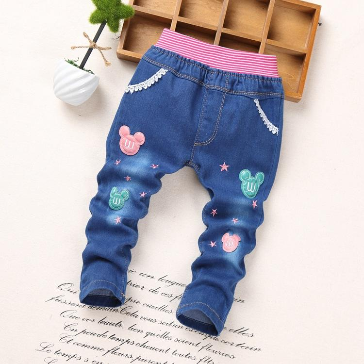 2018 Spring Fashion Bow tie Kids Jeans Baby girls Trousers Autumn KT Cartoon rabbit Pattern Denim girl Jeans Children Pants 2-6Y