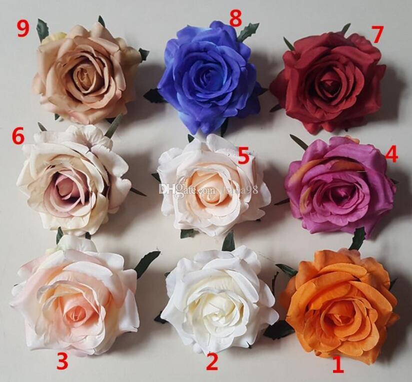 New Diy Curling Simulation Rose Silk Flower Heads Hair Clips Flower Head Garlands Flower Scorsage Wedding Decoration GA225