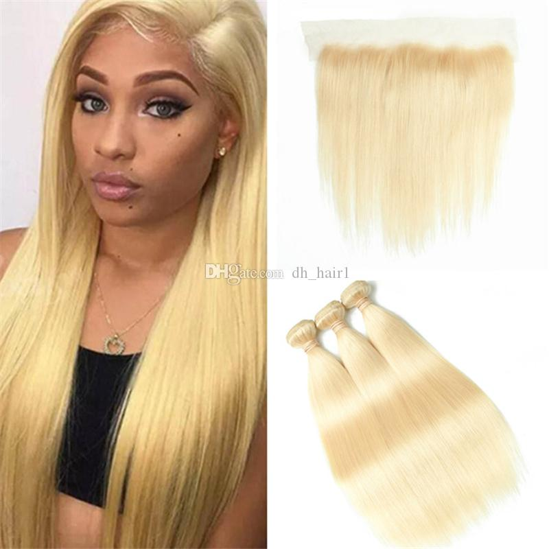 2018 Pure Color 613 Blonde Straight Human Hair Weave 3 Bundles With