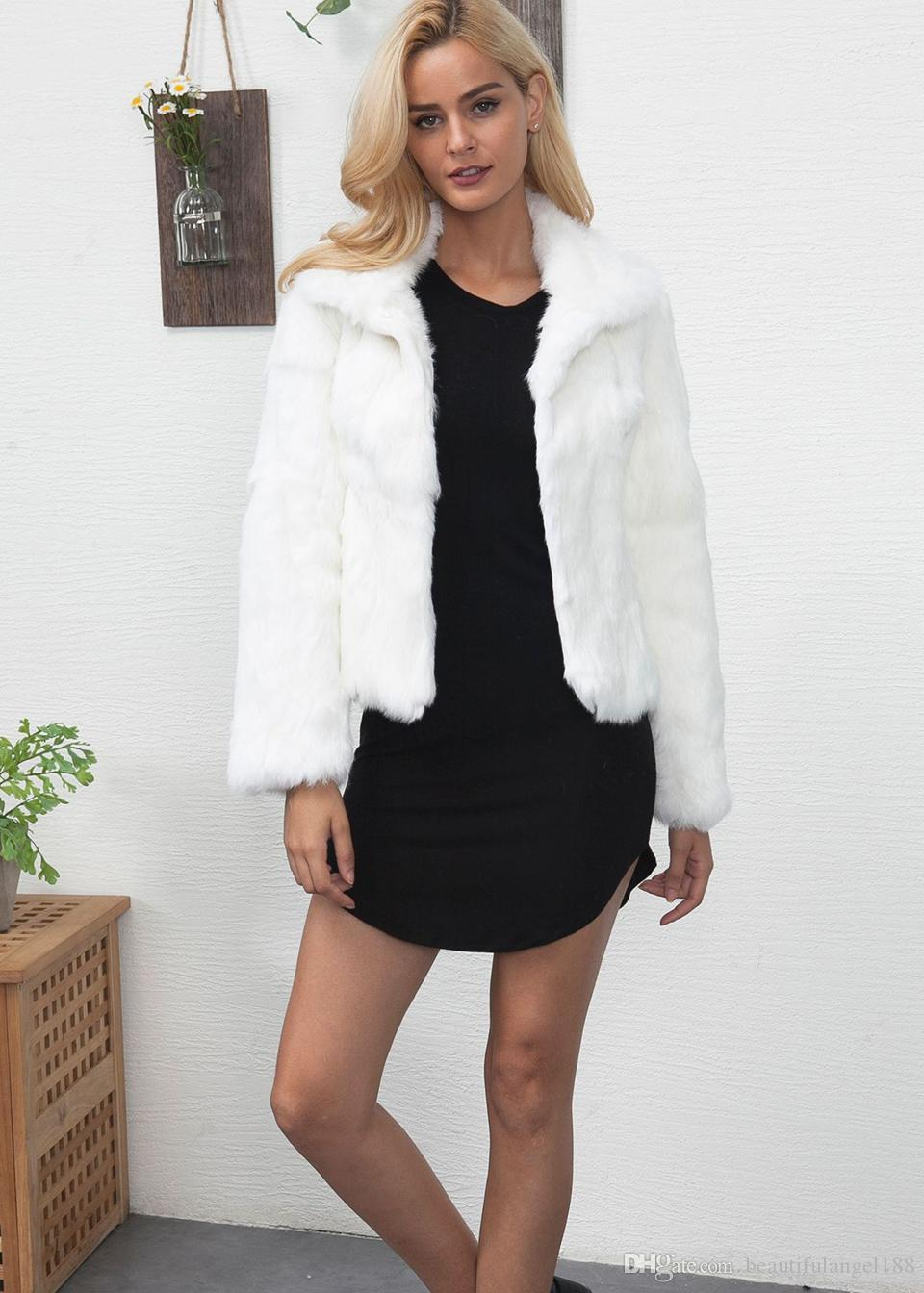Ladies Imitation Fur Winter White short Jacket Clothes Beautiful Faux Fur Coats For Women Fashion Streetwear Outerwear