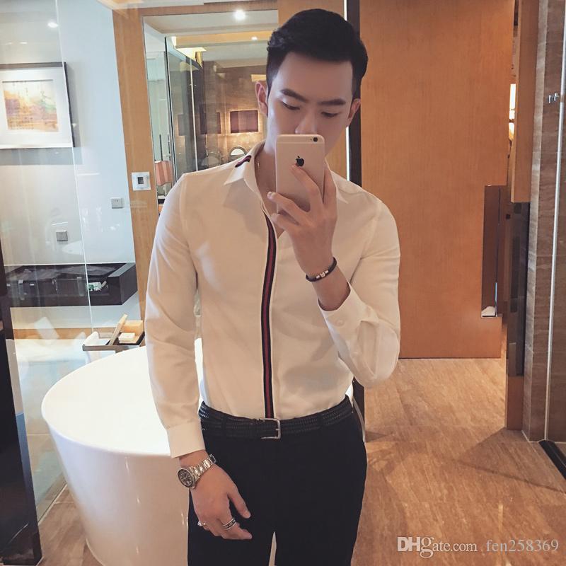 2018 Весна Англия нашивка Рубашки зрелого человек полосатых полосатые корейские мужчины вскользь рубашка с длинным рукавом Мужской молодежной New