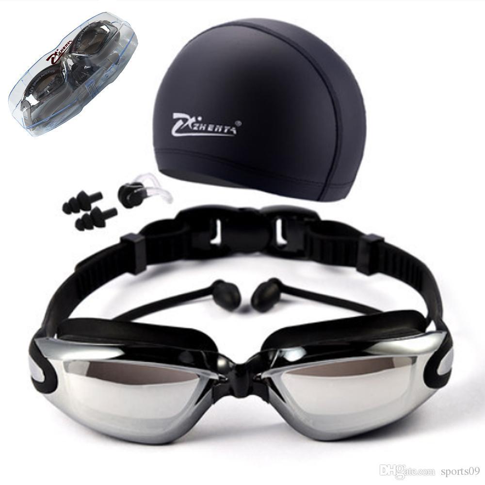 قصر النظر نظارات السباحة قبعات eeywear hd نظارات السباحة نظارات قصر النظر تصفيح عدسة السباحة بركة استخدام الاكسسوارات 3 قطعة / المجموعة