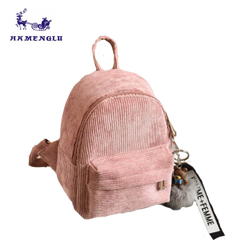 Travel Shoulder Bag Mini Corduroy Women Backpacks Children Mini Back Pack  Kawaii Girls Kids Small Backpack With Fur Pompom Ball Jansport Backpacks  School ... ec2935883c2d9