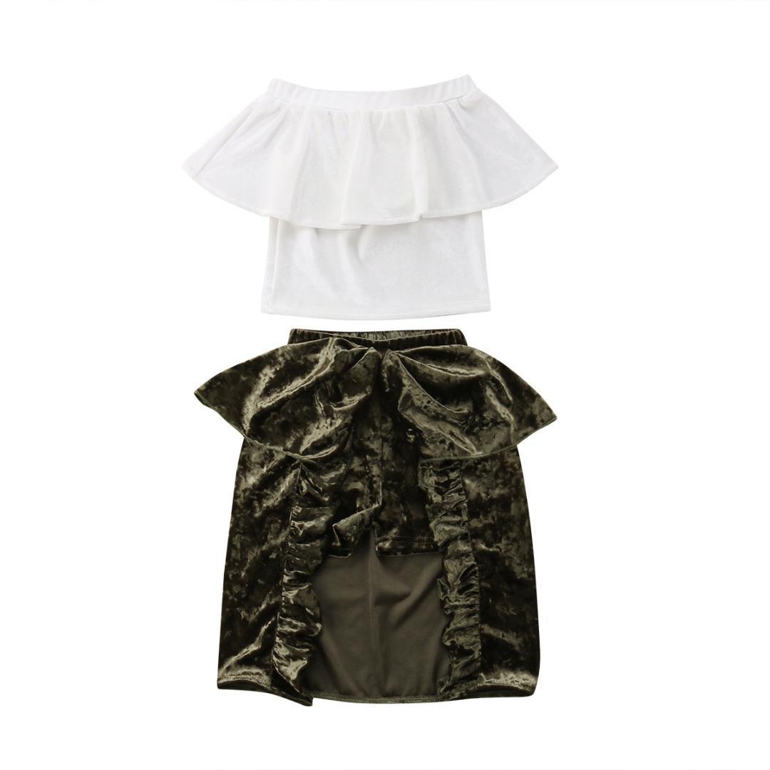 4eacb5e7d85 Acheter 2018 Enfant Bébé Fille Été Off Collar Col Blanc Vêtements Volants  Tops + Shorts Pantalon + Jupe Tenues Ensemble De Mode D été De  23.22 Du  Entent ...