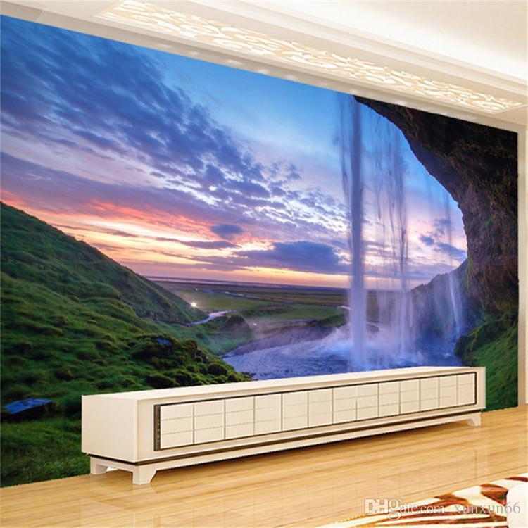 3D 벽지 아름다운 일몰 폭포 사진 벽화 벽화 거실 식당 배경 벽 종이 현대 가정 장식 프레스코 화