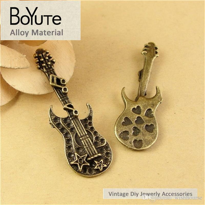 BoYuTe /  20 * 55MM Античные бронзовые покрытые цинковые сплавы Vintage Guitar Pendant Charms для ювелирных изделий Diy Hand Made