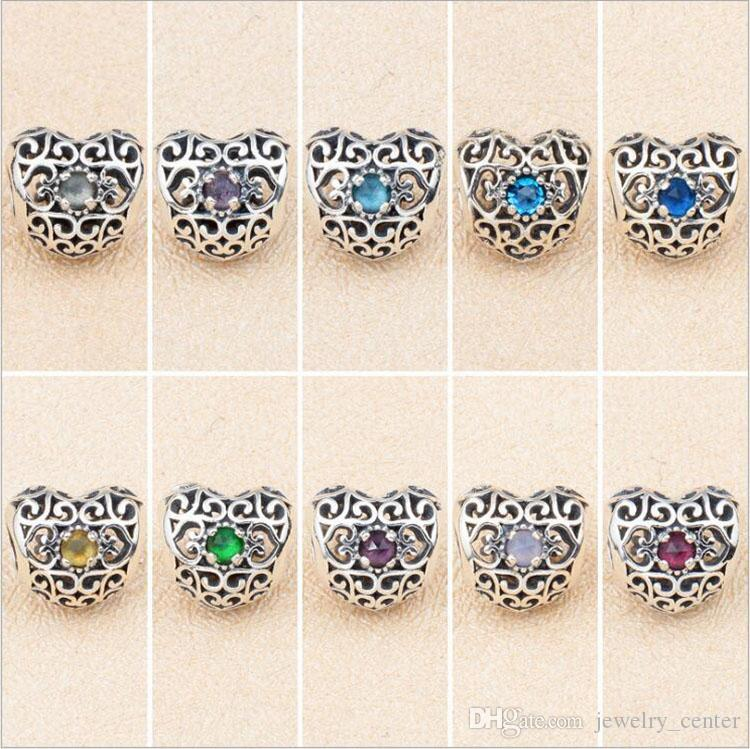 591d5f86b1dd1 925 Sterling Silver January to December Heart Charms Beads for Pandora  Signature Heart Birthstone Charm Bracelet Bangle DIY
