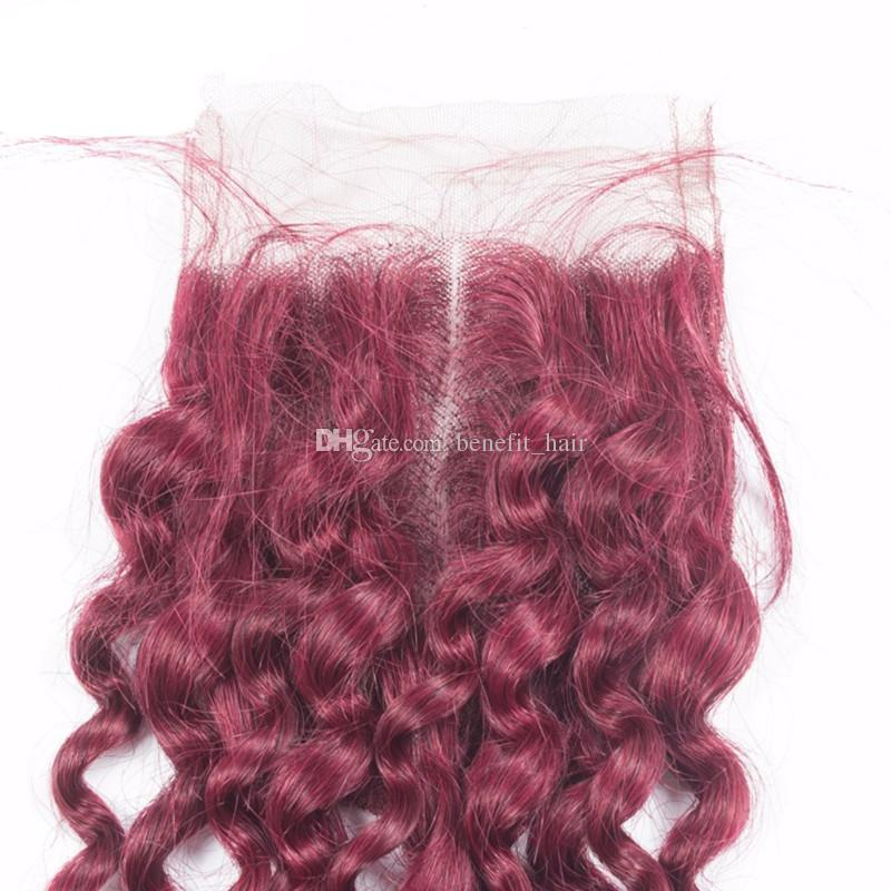 Burgundy Color 99J Curly Human Hair Weaves With Lace Closure Free Part Unprocessed Virgin 99j Kinky Curly Hair 3Bundles With Top Closure 4x4