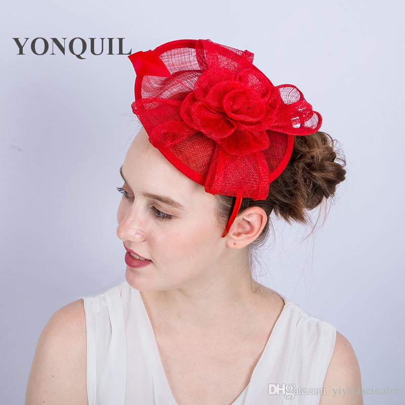 af8e4538feb High Quality Sinamay Red Fascinator Hat on Hair Band Wedding ...
