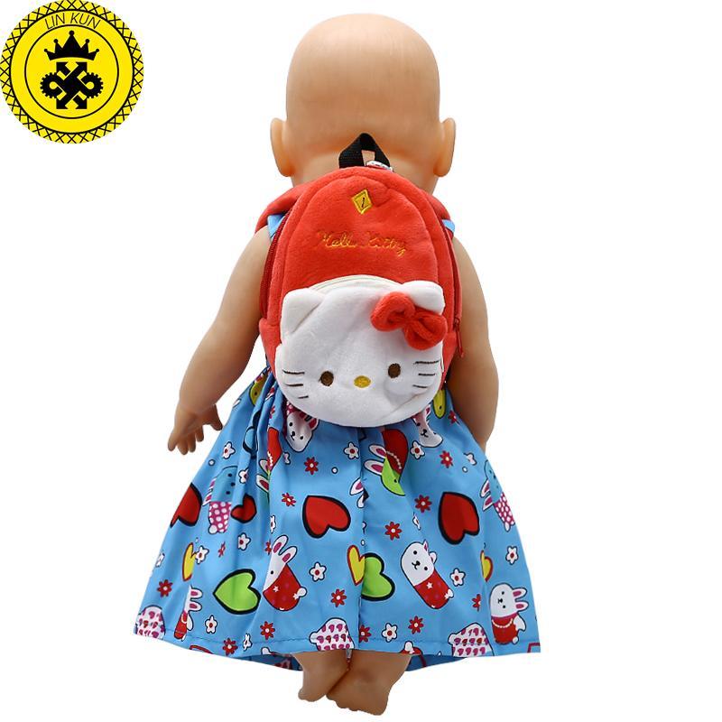 Doll Accessories Cartoon Cute little Bag School Bag for 43cm Baby Born Zapf Doll and American Girl Doll B-4