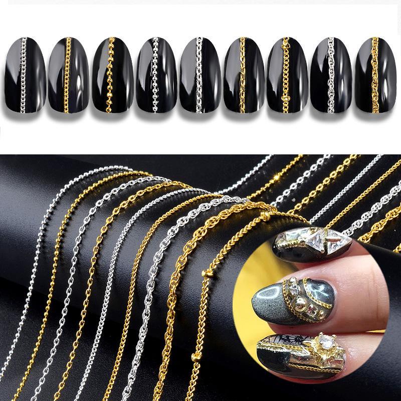 6473f8173f01 Compre 9 Tipos De Oro Plata Metal Cadenas Delgadas Punk Cross Nail Art  Decorations Joyería Del Encanto Que Hace DIY Accesorios Para Uñas Manicura  ...