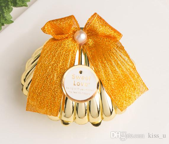 Plastic Gold Shell Wedding Favors Candy Boxes Chocolate Boxes Party Gift Box Souvenir for Guests