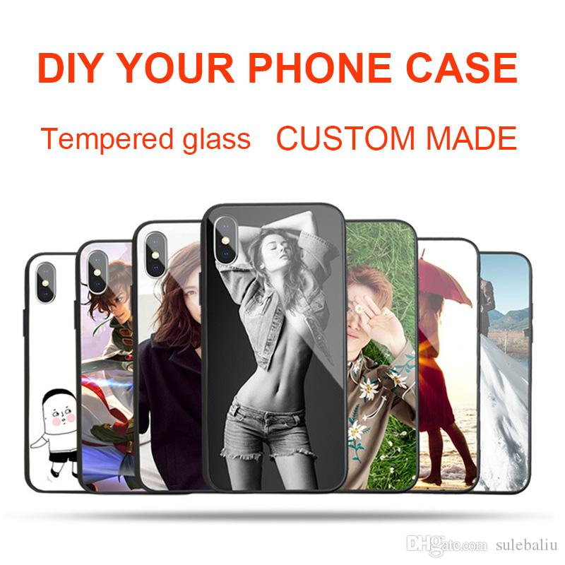 timeless design 62be1 7fb5f Custom Made DIY Name Images Customized Picture Personalized Photo Tempered  Glass Phone Case for iPhone X 8 8Plus 7 7Plus 6 6s Plus Galaxy S8