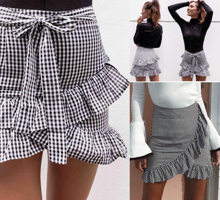 1be50bdb69f Women S Lady Stretch Plain High Waist Skater Flared Ruffle Plaid Striped Pleated  Skirt A Line Short Mini Skirts UK 2019 From Dalivid