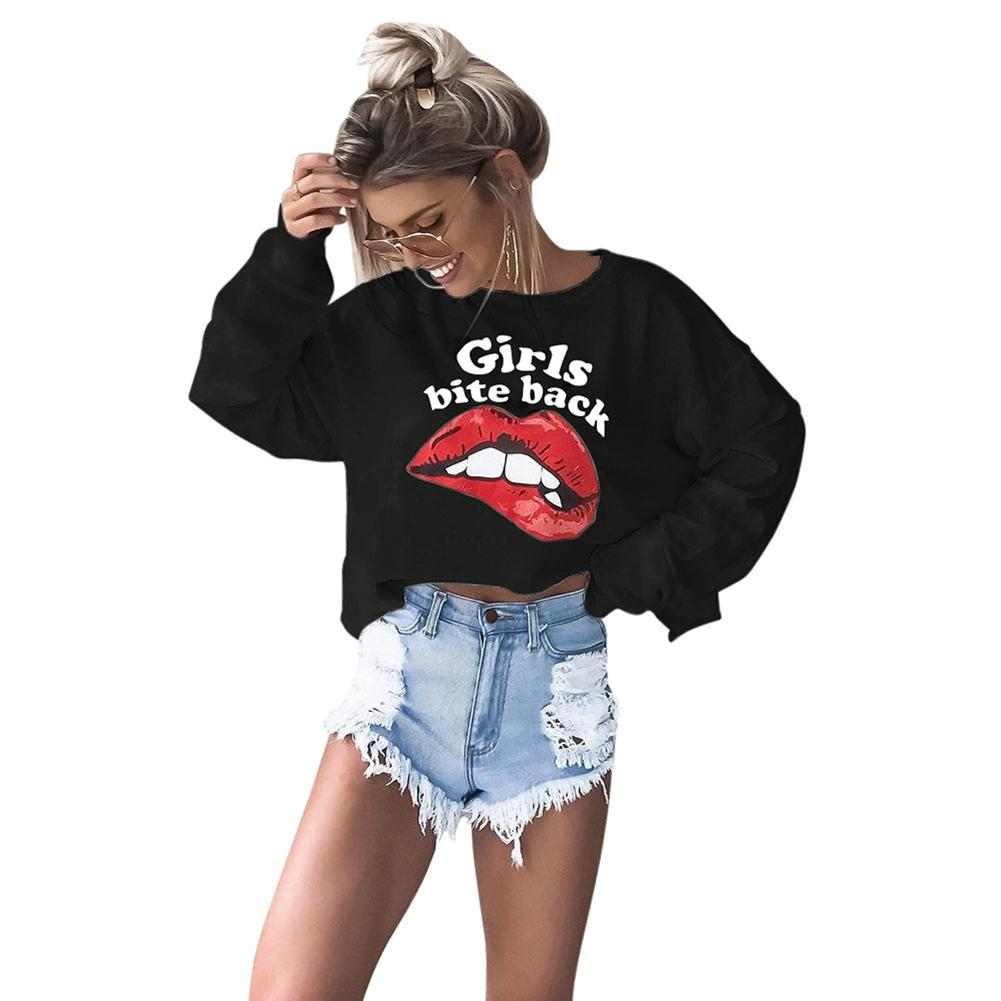 f7334fe2e6b Women Spring Fashion Red Lips T Shirt Print Letter Sexy Crop Top O Neck  Long Sleeves Casual Shirt Tops Black/White Cropped Tee Cool Tee Shirt  Designs Buy ...