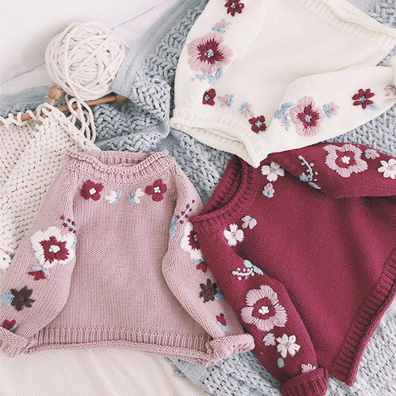 ee7338f8bbcee Baby Girls Autumn Winter Hand-made Flower Sweater 1-3Y Baby Pullover  Knitted Sweater Children Outwear Toddler Girls Clothes