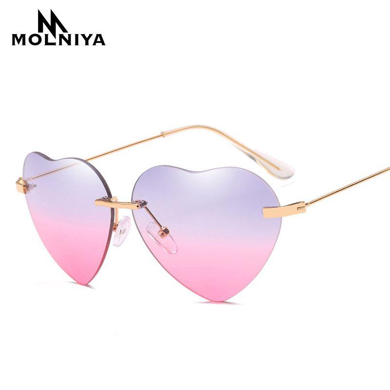 Großhandel Molniya 2018 Neue Frauen Herz Sonnenbrille Marke Design ...