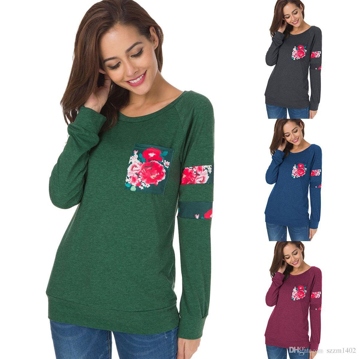 937a9059a45f New Women Floral Printing T-shirt Girls Long Sleeve Causal T-Shirt Loose  Tops  Tees Spring Autumn Women Cotton Clothing New Women Floral Printing T- shirt ...