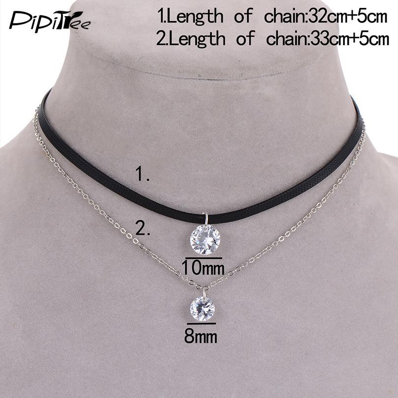 2017 neue Ankunft Trendy Leder Halsband Halskette mit Kristall Charme Schicht Halsketten Anhänger für Frauen Mädchen Gothic Collier