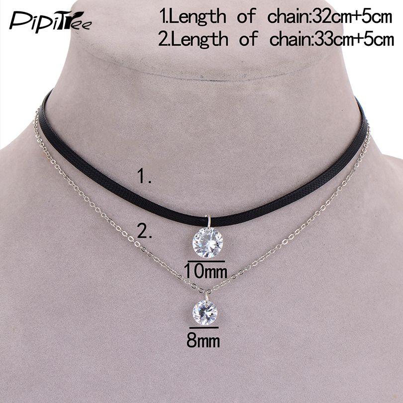 2017 nuovo arrivo trendy collana girocollo in pelle con strato di fascino di cristallo ciondoli collane le donne ragazze gotico collier