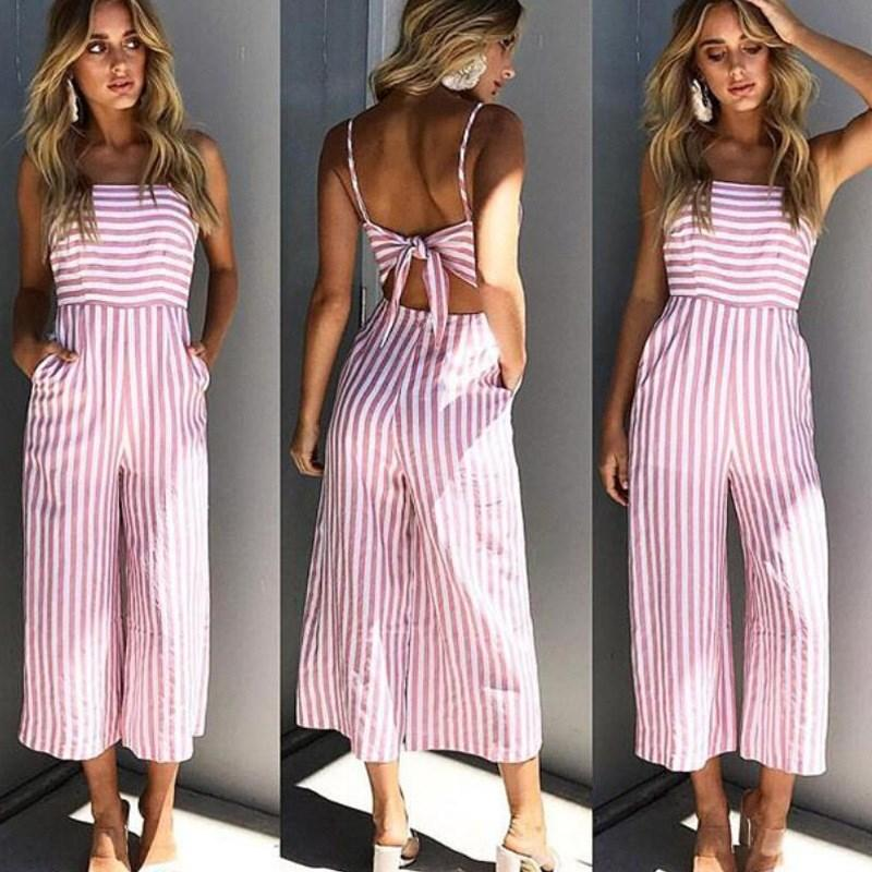 242eb1d2d6d3 2019 2018 New Summer Spaghetti Strap Women Playsuit Fashion Sleeveless Bow  Tie Long Rompers Sexy Striped Backless Wide Leg Jumpsuits From Beenni