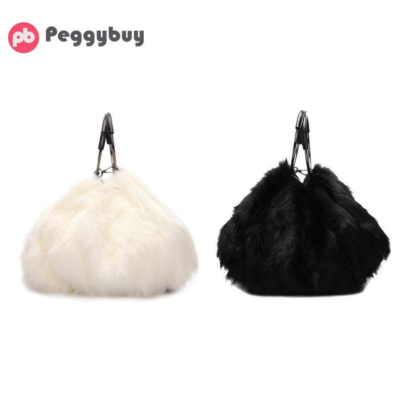 Sweet Girls Soft Black White Handbags Faux Fur Women Tote Bags Large  Capacity Evening Party Shoulder Bag Travel Totes Female Jo Totes Discount  Handbags From ... 19576515b5f69