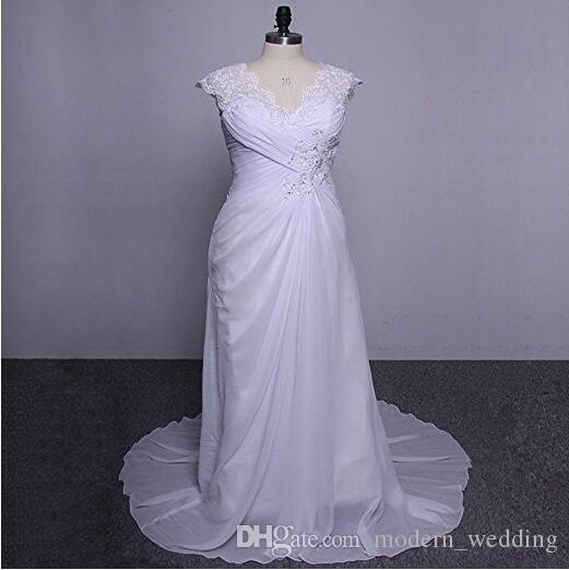 여자의 우아한 아플리케 레이스 웨딩 드레스 다시 V 목 플러스 크기 비치 브라이 덜 드레스