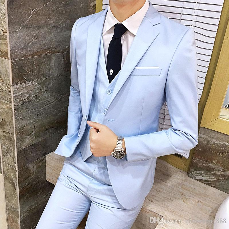 6a127c39f2f1 2019 New Hot Sale Solid Color Single Breasted Men'S Suit Three Piece Suit  Jacket + Pants + Vest Men'S Business Formal Suit Wedding Groom Dress From  ...