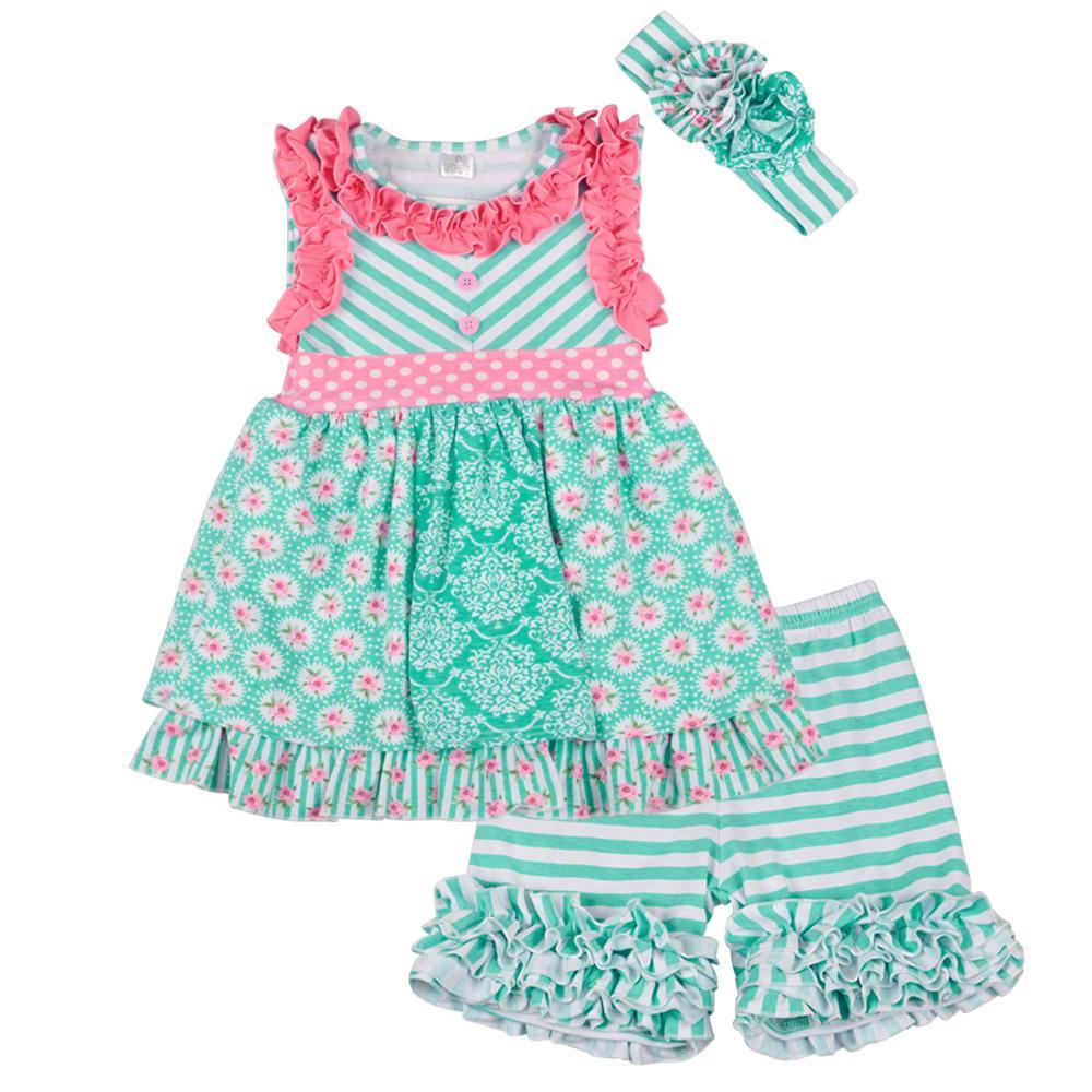 be261b8ca Nueva marca de ropa de niña de verano de moda para niños de impresión  floral top algodón Icing Shorts niñas a rayas conjunto de ropa 2GK801-119  ...