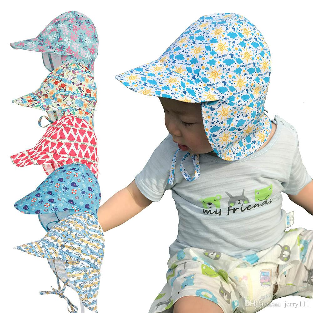 2019 Baby Neck UV Protection Hat Summer Infant Breathable Outdoor Quick Dry  Sun Caps Cartoon Print Beach Hat Adjustable Kid Caps LC868 From Jerry111 a3add2b6521