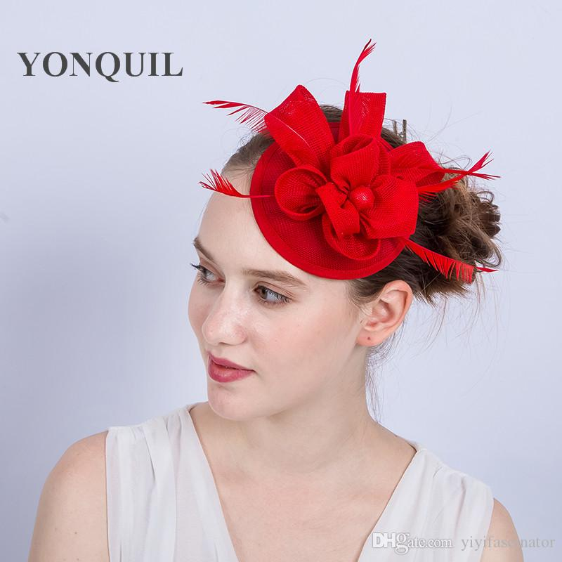 Hot Sale Red Fascinator Hat Base Fascinators Headband On Hair Clips Fancy  Feather Headpiece Women Church Cocktail Dance Accessories SYF144 Formal  Hats For ... 1a4ef3e32b5
