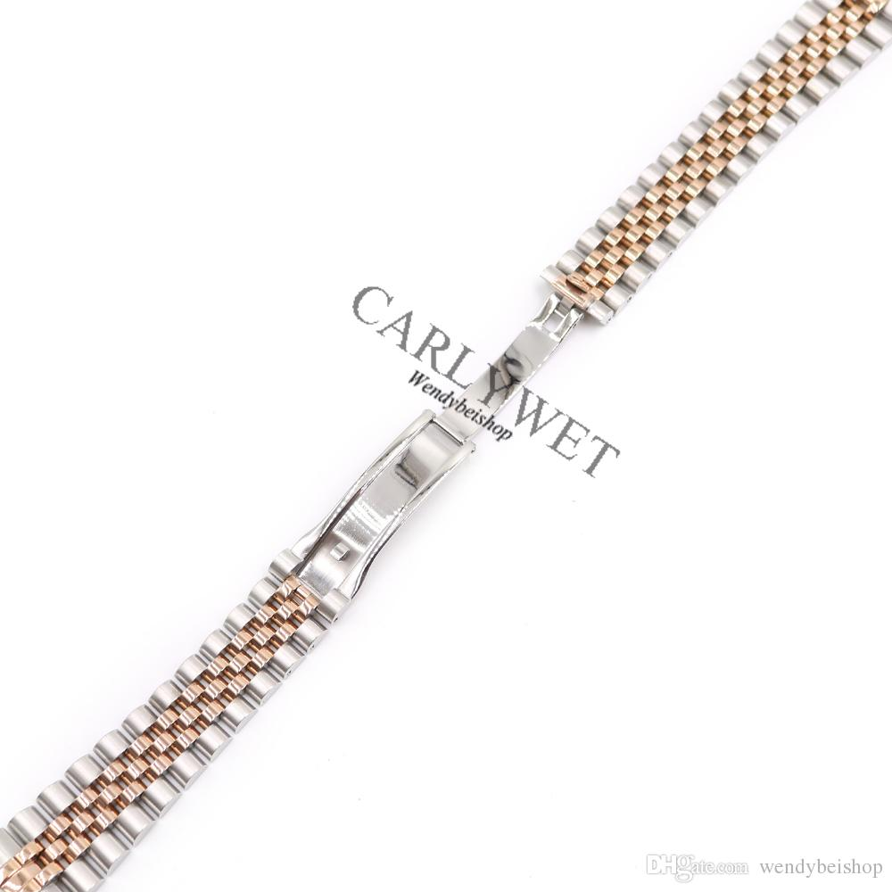 CARLYWET 20mm Wholesale Stainless Steel Jubilee Two Tone Rose Gold Solid Screw Links Wrist Watch Strap Bracelet With Curved End