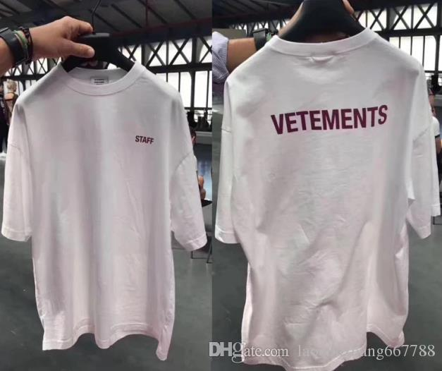 dbad66fd6982 TOP Latest Purple Letters Logo Vetements Staff 2018 Men Women T Shirts HIP  HOP Brand Fashion Casual Black White Cotton Tee And T Shirt T Shirt Makes  From ...