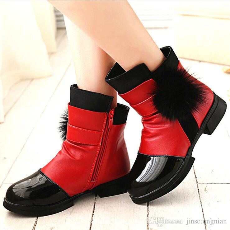 06aef8592f79 2019 Autumn And Winter New Girls Really Hair Ball Color Snow Boots Children  Fashion Warm Plus Velvet Short Shoes Boots Female Student Boots Boot Shoes  For ...