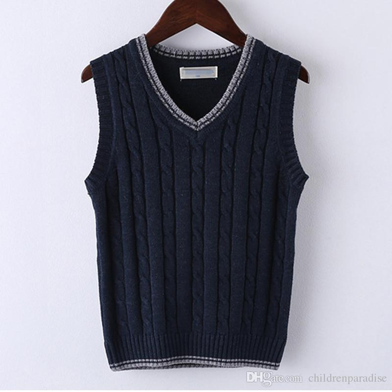 9a8c5edf686f 4 To 10T Boys Cable Knit V Neck Sleeveless Knitted Pullover Vest ...