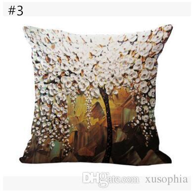 Aceite de árbol de la flor 3D Pintura impresión de algodón de lino funda de almohada cubierta del coche Sofá Almohada Sham Sillón para sala de estar dormitorio MYJ 023