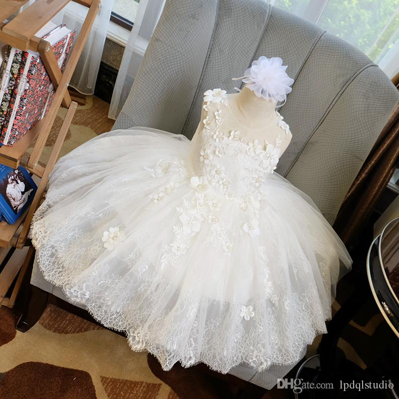 Fancy Lace Flower Girls Dresses High Quality Zipper Back Applique with Pearls Beads Floor Length Ball Gown Girls Party Dresses Cheap