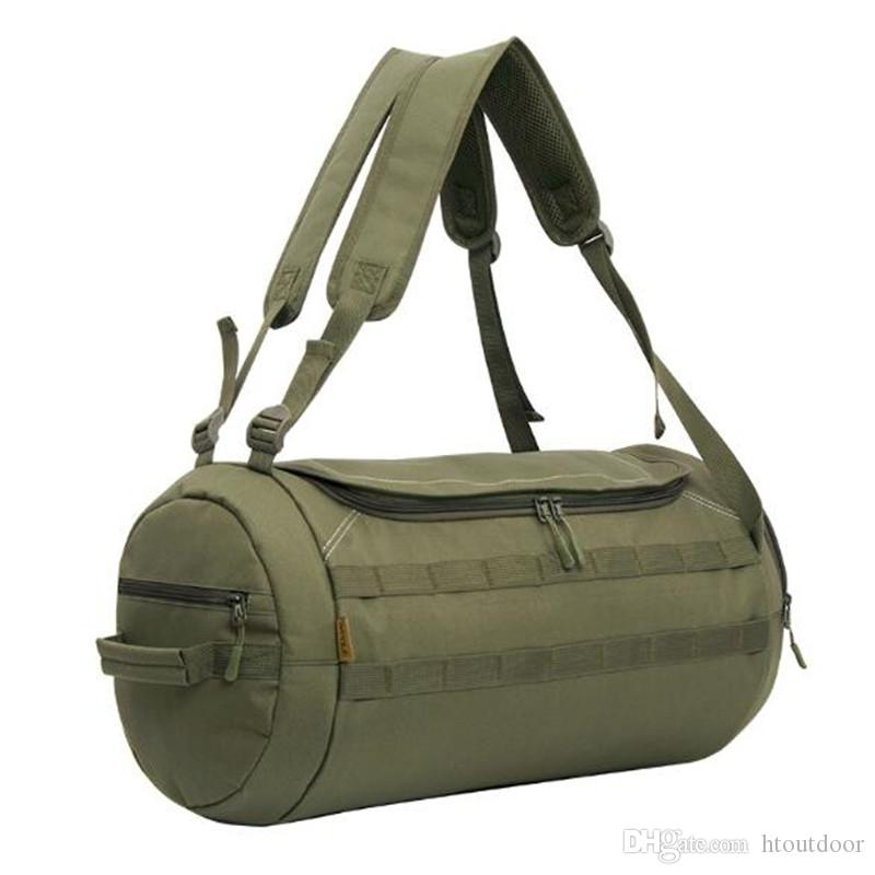 608effc5f0 2019 Camouflage Duffel Cylinder Bag Canvas Travel Backpack Rucksack Men  Outdoor Gym Hiking Camping Yoga Luggage Weekender Shoulder Bag From  Htoutdoor
