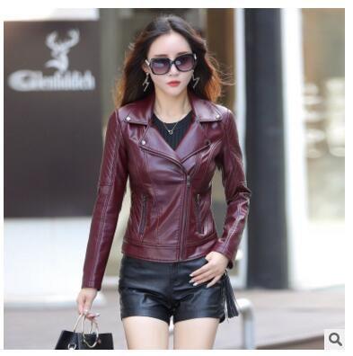 2019 Red Leather Jacket Women 2017 New Fashion Autumn Long Sleeve