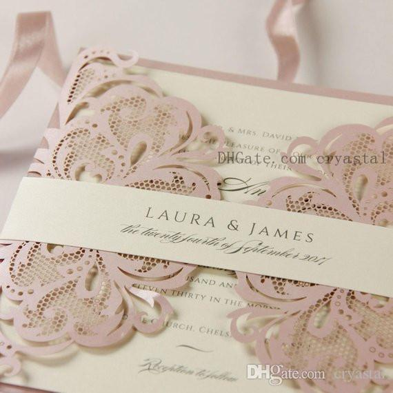 Pink And Cream Luxury Gatefold Laser Cut Set Wedding Invitation With