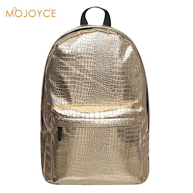 Stylish Street Backpack Women Silver PU Leather Waterproof Backpack Casual  Zipper BackpacMen S Bag Gold Travel Shoulder Bag Black Leather Backpack  Backpacks ... e748bca054a56