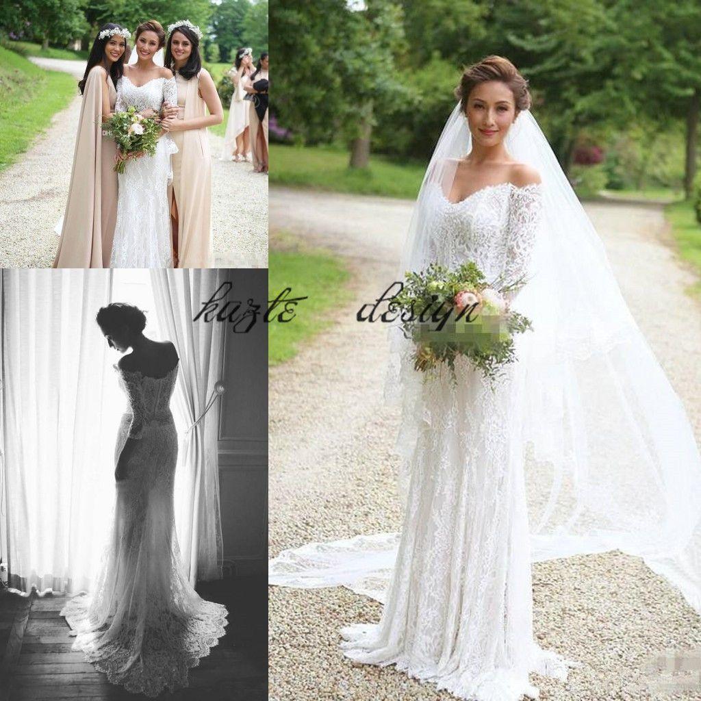 f19ac598f7917 Vintage Lace Bohemian Mermaid Wedding Dresses Off Shoulder Long Sleeves  Beach Boho Bridal Dresses Country Wedding Gown Liz Martinez Amazing Wedding  Dresses ...