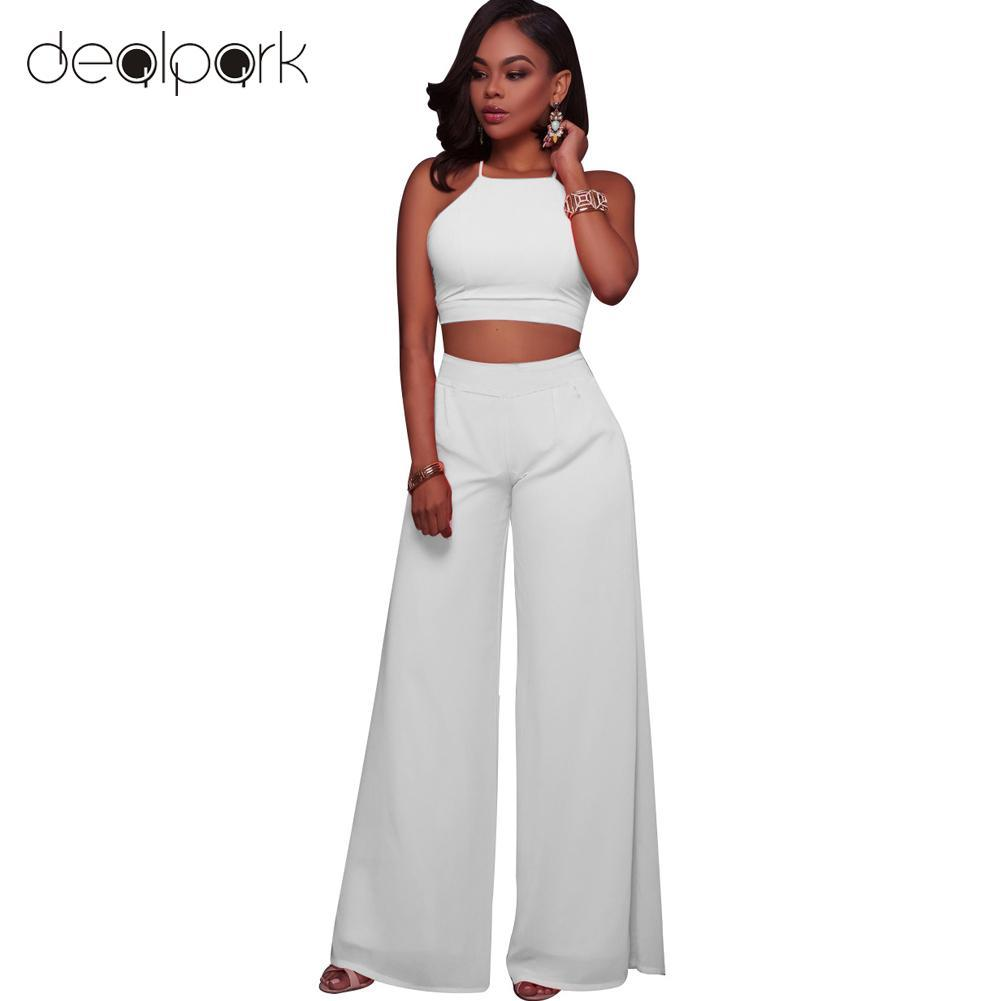 fced648897 2019 Sexy Women Two Piece Set Halter Strap Crop Top Bandage Wide Leg Pants  Set Party Nightclub Outfit Tracksuit Dark Blue/Pink/White From Fabian05, ...