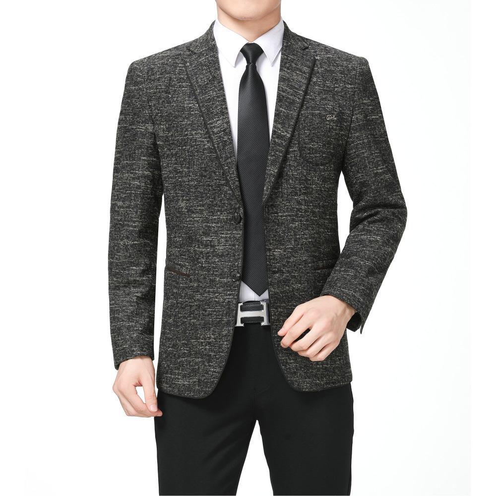 f6d19a725aa82 Homme Élégant Casual Blazer Coupe Slim Fit Veste Costume Hommes Col En  Vitre Blazers Pour Hommes Élégance Tenues Automne Printemps Mans Vêtement