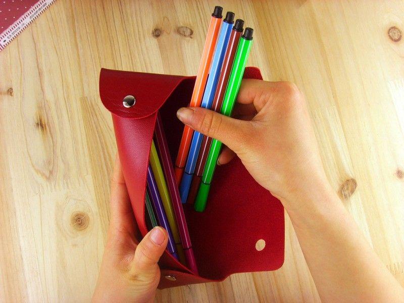 متعددة الوظائف حقيبة القلم مستطيل بو الجلود أكياس قلم رصاص طوي مزدوج مشبك أقلام رصاص القضية عالية الجودة 1 5hb ب