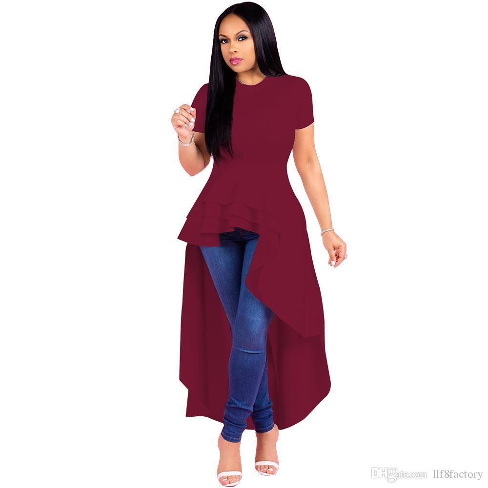 ea4190d5e2bd98 Robe de soirée grande taille pour femmes à volants irréguliers jupe à  volants et ourlet de couleur unie jupe smoking à manches courtes
