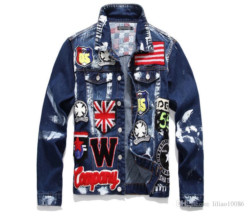 7aa0ec3dc0 ma1 Denim Jackets Patchwork Embroidery Men s Jacket Hip Hop kanye west  Casual Streetwear supreman Jacket Coats Sportswear